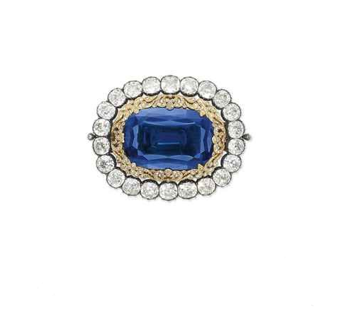 130.50-carat Burmese Sapphire and Diamond Brooch