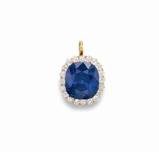 Antique 22.66-carat Kashmir Sapphire and Diamond Pendant