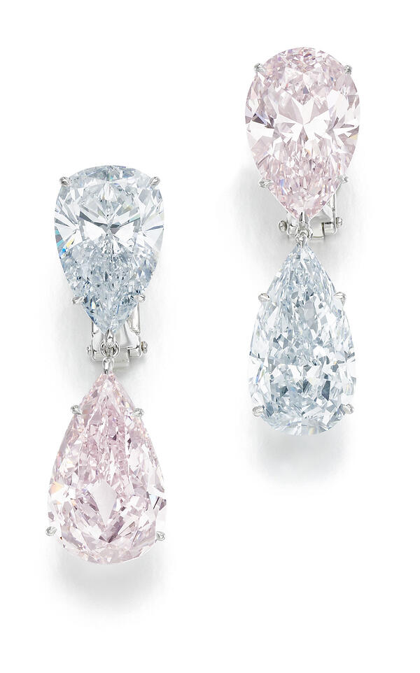 pair of fancy light blue and fancy lint pink earrings - credit sotheby's-1