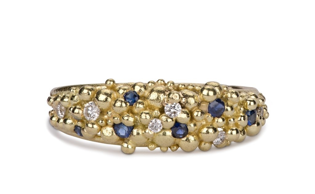 granule sapphire diamond ring